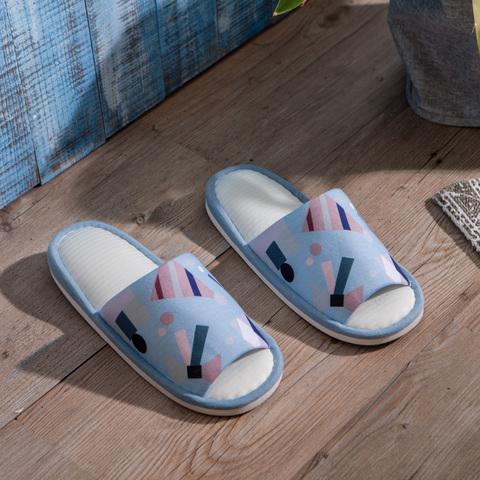 北歐奇趣涼感拖鞋-藍L